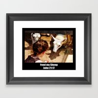 Feed My Sheep - Poster Framed Art Print