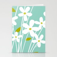 Flowers On Blue By Frizt… Stationery Cards