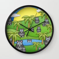 Hippos. Wall Clock