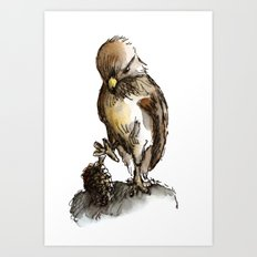 Little eagle playing with a pine cone Art Print