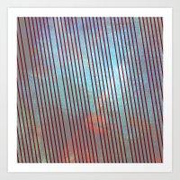 Red stripes on grunge background Art Print