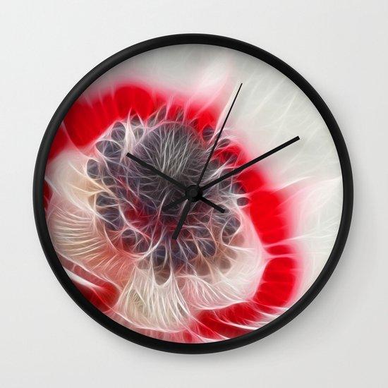 Multi Coloured Anemone Wall Clock