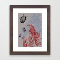 Beetles and Bird Framed Art Print