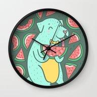 Watermelon Dog Wall Clock