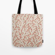 Red & White Berry Branch… Tote Bag