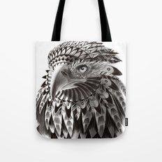 black and white ornate rendered tribal eagle Tote Bag