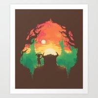 Sunset with a friend Art Print