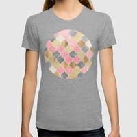 Silver Grey, Soft Pink, Wood & Gold Moroccan Pattern Womens Fitted Tee Tri-Grey SMALL