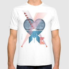 Broken Heart Is A Deadly Weapon SMALL White Mens Fitted Tee