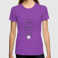 Ivory Belongs to Elephants Womens Fitted Tee Ultraviolet SMALL