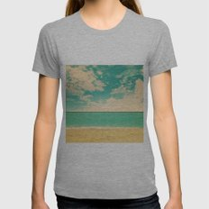 Retro Beach Womens Fitted Tee Athletic Grey SMALL