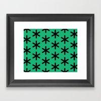 Vondel Black On Green Pa… Framed Art Print