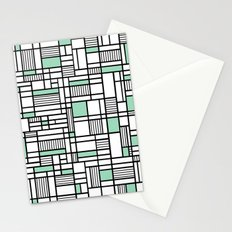 Map Lines Mint Stationery Cards