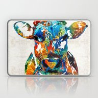 Laptop & iPad Skin featuring Colorful Cow Art - Mooto… by Sharon Cummings