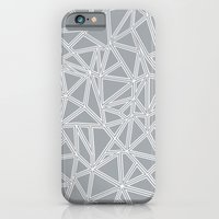 iPhone & iPod Case featuring Shattered Ab Grey and White  by Project M