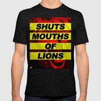 SHUTS MOUTHS OF LIONS (D… Mens Fitted Tee Tri-Black SMALL