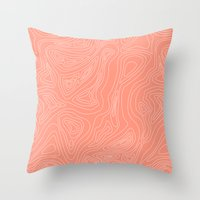 Ocean depth map - coral Throw Pillow