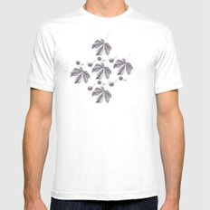 Floral pattern horse-chestnut Mens Fitted Tee SMALL White