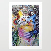 Chloe ... Abstract cat art Art Print
