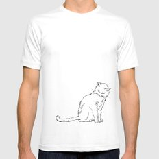 Cat illustration White SMALL Mens Fitted Tee