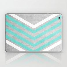 Teal And White Chevron O… Laptop & iPad Skin