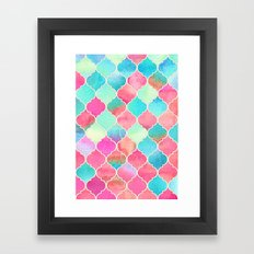 Watercolor Moroccan Patchwork in Magenta, Peach & Aqua Framed Art Print