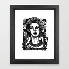 lady in garden Framed Art Print