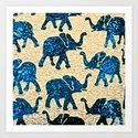 Elephant March Blue Art Print