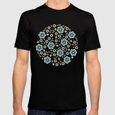 Whimsy Floral Mens Fitted Tee SMALL Black