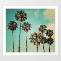 Palms Blue Art Print