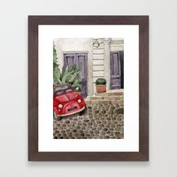 Red Beetle Car Framed Art Print