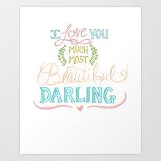 Hand Lettered I LOVE YOU Print Art Print