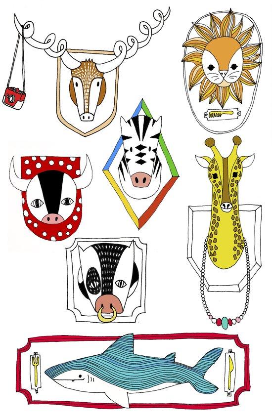 Animals head plaques Art Print