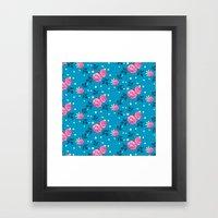 Roses On Blue Framed Art Print
