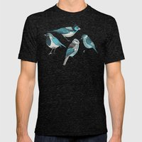 pale green birds Mens Fitted Tee Tri-Black SMALL