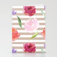Peach Cream Stripes Wate… Stationery Cards