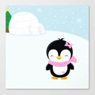 Cute Penguin Girl  Canvas Print