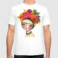 Frida And The Bird In Her Hair Mens Fitted Tee White SMALL