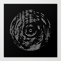 Record White On Black Canvas Print