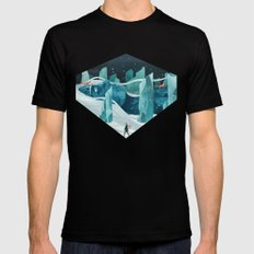 The wanderer and the ice forest Mens Fitted Tee Black SMALL