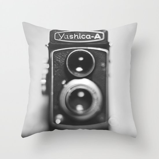 Yashica-A black and white Throw Pillow