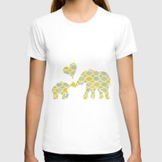 Elephant Hugs Womens Fitted Tee White SMALL