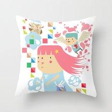 Polypop FlyGirl Throw Pillow