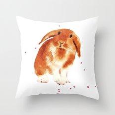 bunny, rabbit painting, lop eared bunny, fluffy bunnykins, bunny lover gift Throw Pillow