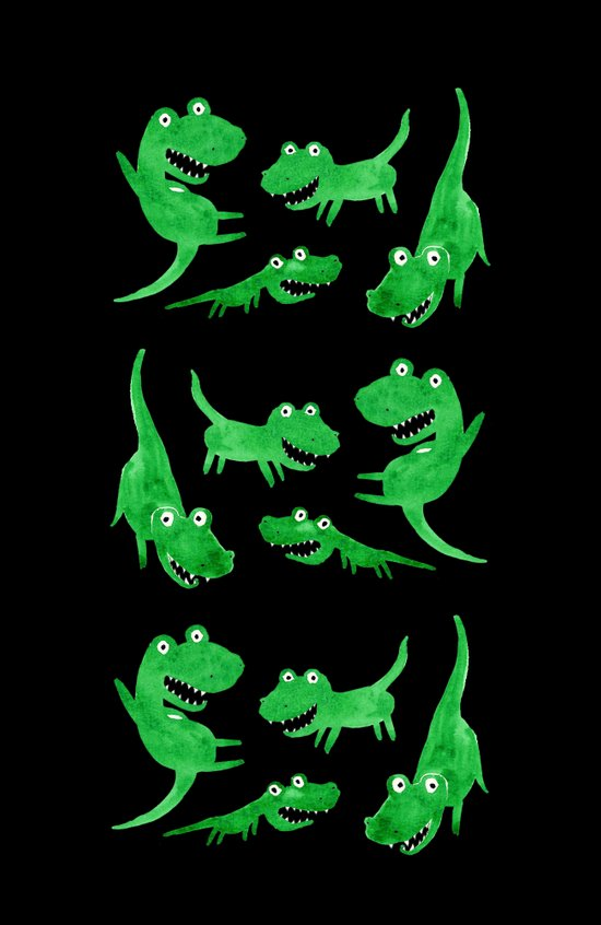Alligators (Black Background) Art Print