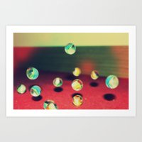 Retro Marbles Art Print