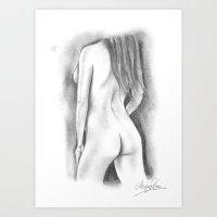 Nude Pencil Drawing - Ashley Rose Art Print