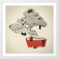 Bonsai cats Art Print