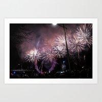 London Eye & Fireworks II Art Print
