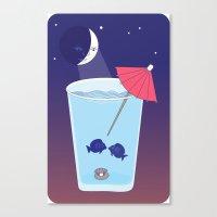Waxing Waterglass Moon  Canvas Print